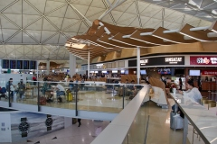 After security check and immigration there is a large food court with a wide variety of choices.
