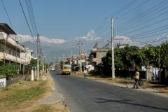 Damside Road Annapurna I is on the left with Machhapuchhare and Annapurna III, Pokhara, Nepal