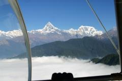 Above the clouds with Machhapuchhare and Annapurna III, Pokhara, Nepal