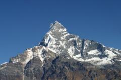 The fluted summit of Machhapuchhare, Pokhara, Nepal