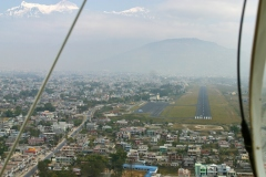 Final approach with Annapurna IV and II just visible at the top left, Pokhara airport, Nepal