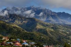 Mt Kinabalu seen from the village of Kundasang.