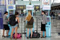 Self check-in terminals.