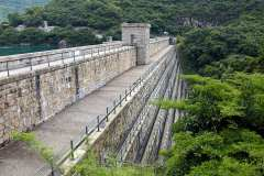 The Tai Tam Upper Reservoir dam features unique terracing on the south face.