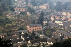 The red brick mining town of Bagou.