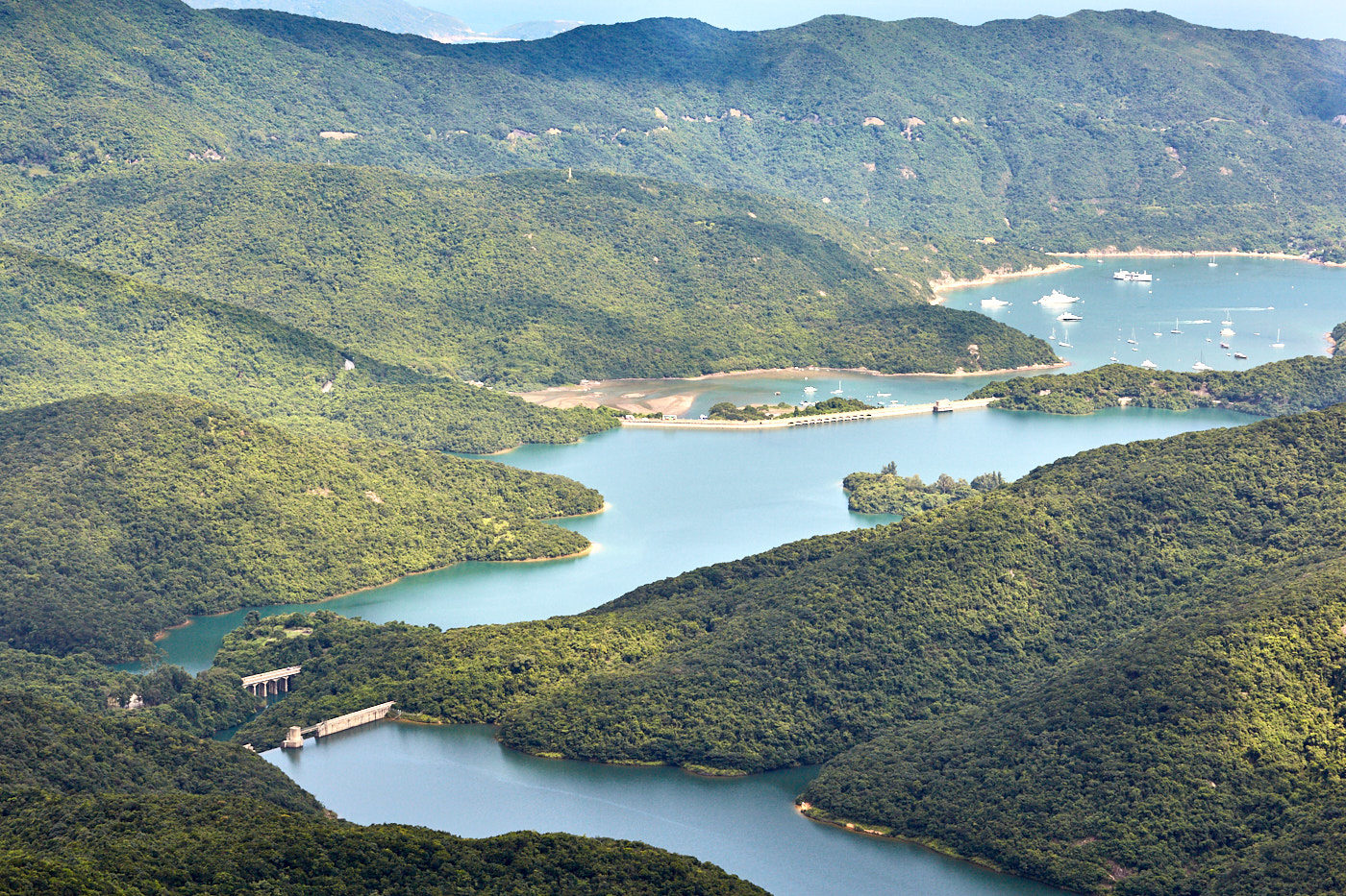 Tai Tam reservoir systen from Violet hill