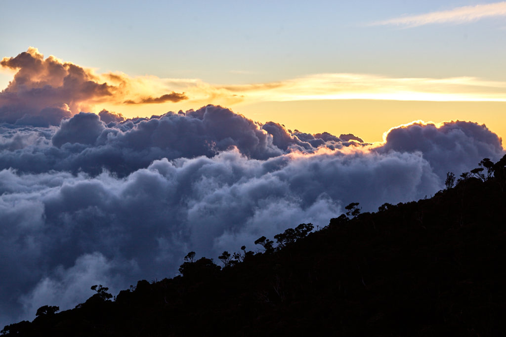 Climbing Mt Kinabalu Sunset from Laban Rata.