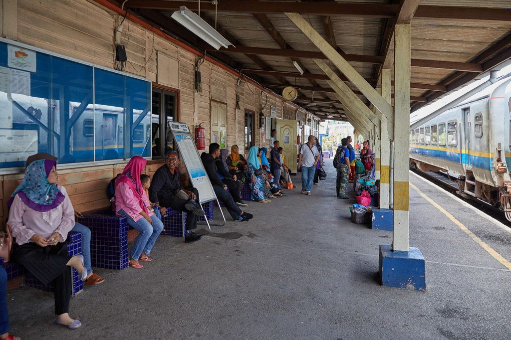 A train ride into malaysia's interior. Passengers wait for the train Kuala Lipis station