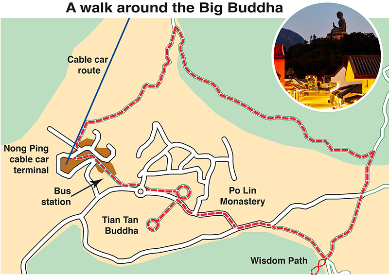 Tian Tan or Big Buddha hiking map
