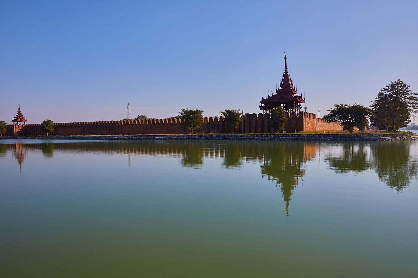 The moat and walls of Mandalay Palace