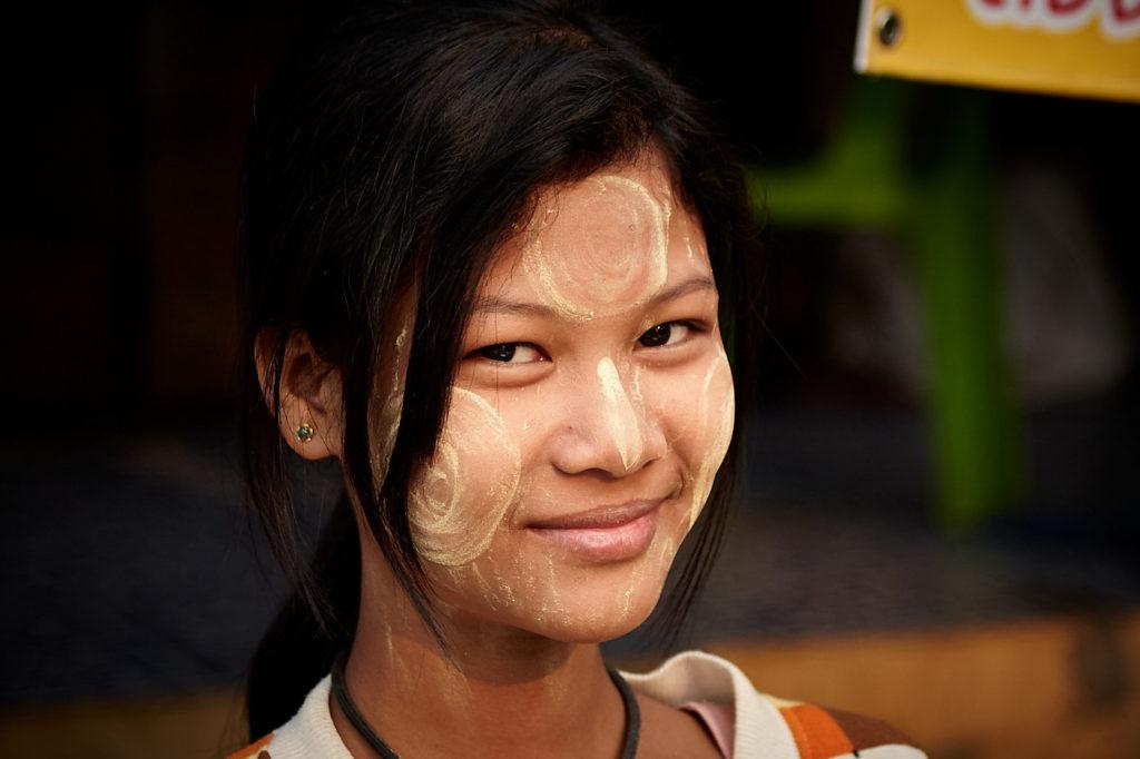 Girl with thanaka on her face, Sangkhlaburi , Thailand